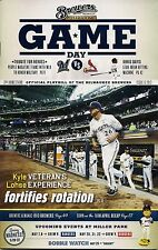 KYLE LOHSE ON COVER MILWAUKEE BREWERS 2013 OFFICIAL GAMEDAY PROGRAM ISSUE #6