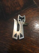 Vintage 30's Mexico Jewelry Designer JOSE ANTON Sterling & enamel CAT PIN