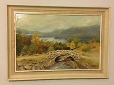 Vtg Oil Painting Ashness Bridge DerwentWater Lake District Cumbria Picture