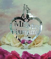 Acrylic Mirror Personalised Mr & Mrs Cake Topper Wedding Keepsake Decoration cc