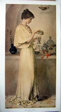 art print~THE LOVE POTION~Hatton Young Victorian Lady mixing romance vtg re15x28