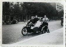 PHOTO ANCIENNE - VINTAGE SNAPSHOT - SIDE CAR MOTO MOTOCYCLETTE FAMILLE-MOTORBIKE