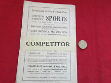 BRODSWORTH Doncaster  Welfare Amateur Athletic Sports  29/05/39  Programme