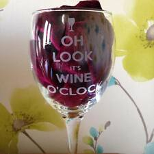 Oh Look it's Wine O'Clock Wine Glass Engraved - New - Handmade