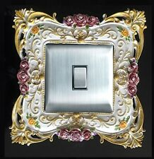 Flowery Resin Single Light Switch Surround Socket Finger Plate Panel Cover L68