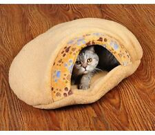 New Warm Pet Dog Cat Bed House Cushion Half Covered Bed Sleeping Bag Brown S
