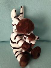 TESCO SOFT TOY COMFORTER ZEBRA HOLDING HER BABY DATED 11