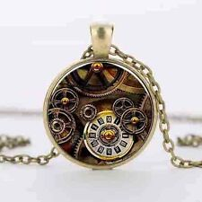 Alice in wonderland watch of Life time bronze pendant necklace gear Steampunk us