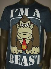 New Men's XL Blue Donkey Kong Gorilla I'm A Beast Nintendo Game Logo T Shirt NES