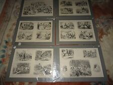 John Leech: 6 x Original Matted Engravings & Pictures of Life/Mr Punch