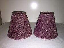 "2 Iridescent Pink Glass Hand Beaded Wire Candle Lamp Shades 4.5 ""T Gorgeous"