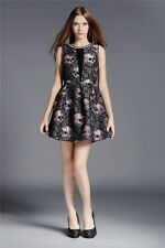 2016 Luxury Design Summer Lolita Gothic Rose Skull Mini Black Dress Party ITC438