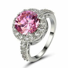 Amazing Woman's Pink Sapphire Topaz Gem Silver Engagement Rings Wedding Sz 5.5