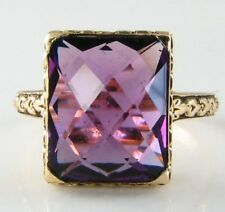 LARGE 9K 9CT RARE CUT VIBRANT AFRICAN AMETHYST RING SOLITAIRE