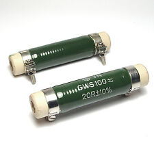 2x Draloric Draht-Widerstand 20 Ohm, 80 Watt, GWS 100, glasiert, NOS