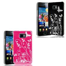 Silver Butterfly & Pink Floral 2 Case Cover set For Samsung Galaxy s2 i9100