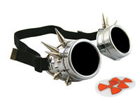 METALLIC SILVER CYBER GOGGLES WITH SPIKES WELDING GOTH COSPLAY STEAMPUNK GOTHIC