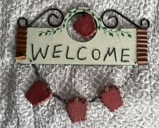 REDUCED!! EXTRA LARGE FOLK ART WELCOME WALL PLAQUE-UNIQUE-FROM USA!!