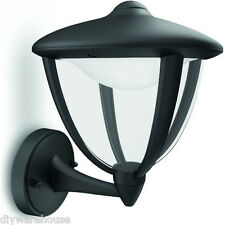 "PHILIPS ""ROBIN"" SUPERB QUALITY OUTDOOR DECO BLACK WALL LIGHT IP44 LED BULBS. NEW"