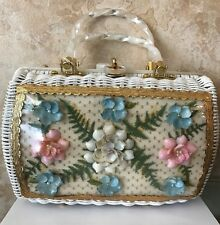Vintage White Wicker Pearly Lucite Floral Purse Handbag Atlas Hollywood Fla