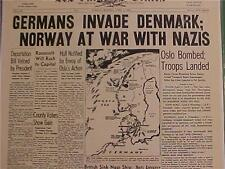 VINTAGE NEWSPAPER HEADLINE~GERMAN ARMY NAZIS INVADE DENMARK WORLD WAR WWII