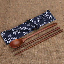 Portable Wooden Cutlery Sets Wooden Chopsticks And Spoons Travel Suit F5