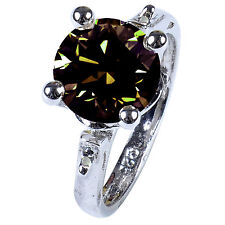 BLACK NATURAL DIAMOND & BROWN HUGE MOISSANITE STERLING SILVER ENGAGEMENT RING 7