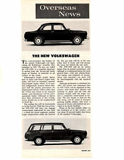 1961 VW / VOLKSWAGEN 1500   ~  ORIGINAL NEW CAR PREVIEW ARTICLE / AD