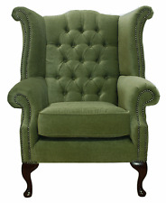Chesterfield Armchair Queen Anne High Back Fireside Wing Chair Sage Green Fabric