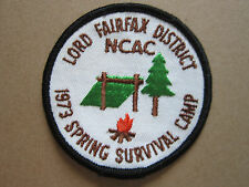1973 Spring Survival Camp BSA Woven Cloth Patch Badge Boy Scouts Scouting