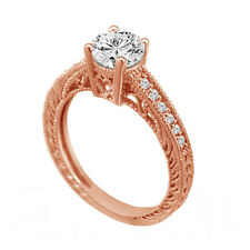 Natural Diamond Engagement Ring 0.64 Carat 14K Rose Gold Handmade Antique Style