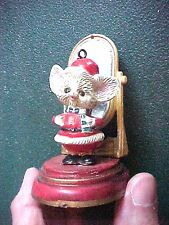 Vintage Miniature Plastic Santa Mouse with Mirror Christmas Ornament