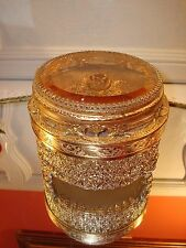 VTG GUILDCREST FOOTED BEVELED Amber GLASS Jewelry CASKET~GORGEOUS ROSE~3 PIECES