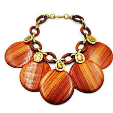 Vintage YSL Saint Laurent Rive Gauche Cocobolo Wood Disc Necklace