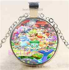 Cute Pokemon Photo Cabochon Glass Dome Silver Chain Pendant Necklace#G84