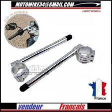 PAIRE DE  DEMI GUIDON 35 mm CNC Billet 35 mm Clip On Handlebars Racing SILVER