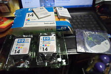 Genuine OEM HP 14 Ink Cartridges Tri-Color Twin-Pack with marketing cd & booklet