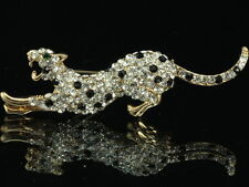 brilliant cut clear black crystal rhinestone gold platd leopard Brooch pin F98