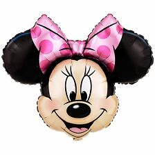"27"" Minnie Mouse Face Mylar Foil Balloon Party Decorating Supplies"