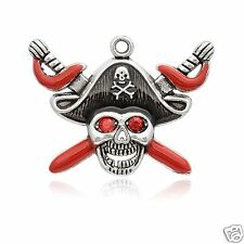 1 x Pirate Skull Silver Plated Enamel Pendant Charms