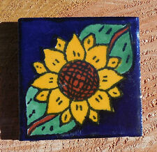 """36~Talavera Mexican 2"""" tile pottery hand painted green yellow SUNFLOWERS brown 2"""