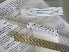 SILVER BRAZING SOLDER & FLUX KIT Johnson Matthey 45% 10 rods &  Easy-flo flux