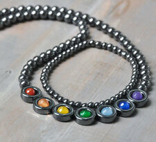 7 Chakra Gemstone Necklace+Bracelet Set, Hematite, Faceted Agate, Rainbow