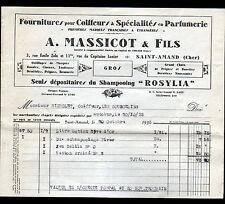 """SAINT-AMAND-MONTROND (18) PRODUITS pour COIFFEUR & PARFUMEUR """"A. MASSICOT"""" 1933"""