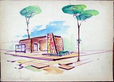 Acquerello '900 su carta Watercolor Architettura futurista cubista razionale-18a