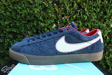 NIKE SB BLAZER LOW GT SZ 9.5 OBSIDIAN BLUE RED GUM LIGHT BROWN WHITE 704939 402