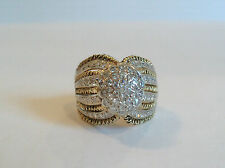 STUNNING CUSTOM MADE 18K YELLOW GOLD DOME TOP CLUSTER RING, PAVE SET DIAMONDS
