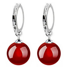 Elegant Silver Plated Red Natural Agate Stone Drop Dangle Earrings E908