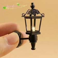 1/12 dollhouse battery-operated/powered black led coach lamp