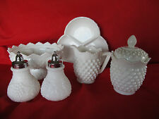 Fenton milk glass hobnail creamer & covered sugar bowl-advent candle holder-more